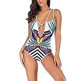 Traje De BañO Sexy, Traje de baño Triángulo Impreso Bikini de una Pieza Más Grasa para Aumentar Sexy Tallas Grandes Señoras Control de Abdomen Traje de baño Enviar Gorro de Baño