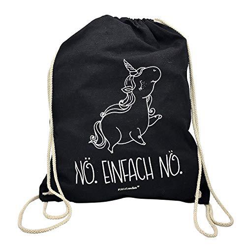 younikat Einhorn Turnbeutel I ca. 37 x 46 cm I Sportbeutel Umhänge-Tasche in schwarz Baumwolle zum Umhängen Zuziehen für Mädchen Kinder Teenager I dv_237