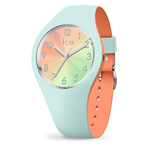 ICE-WATCH ICE Duo Chic Aqua Coral - Reloj Verde para Mujer con Correa de Silicona, 016981 (Small)