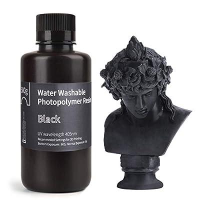 ELEGOO Water Washable Rapid 3D Printer Resin LCD UV-Curing Resin 405nm Standard Photopolymer Resin for LCD 3D Printing 500Gram Black