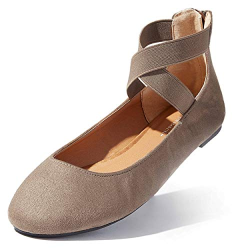 DailyShoes Women's Classic Flats Comfortable Criss Cross Elastic Band Round Flat Slip-On Loafer Sneaker Shoes-Ideal for Casual Occasions Walker-05 Taupe SV5