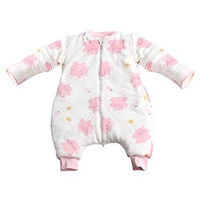 Saco de Dormir para bebé con Pierna Mangas Desmontables Pierna Todo el año 100% Algodón Cálido Niño Niña Pijama Mono Unisex