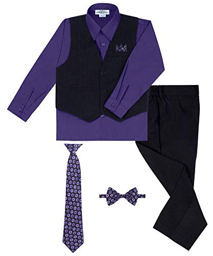 Rafael Boy's Vest and Pant Set, Includes Shirt, Tie and Hanky -  Black/Purple, 6