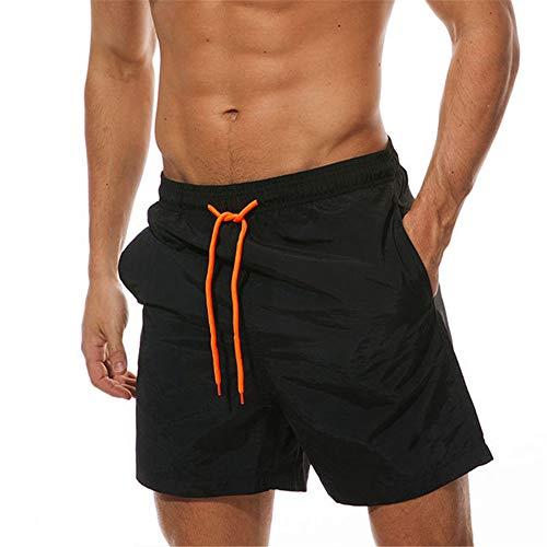 N/ A Swim Trunks for Men with Pockets,Men's Swim Trunks - Quick Dry Swim Suit for Men with Pockets and Liner Black