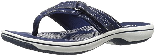Clarks Women's Breeze Sea Flip Flop, New Navy Synthetic, 5 B(M) US