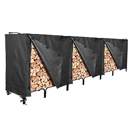 North East Harbor Outdoor Firewood Log Rack Cover - 144' L x 24' W x 42' H - Sunray Protected, and Weather Resistant Storage Cover - Black
