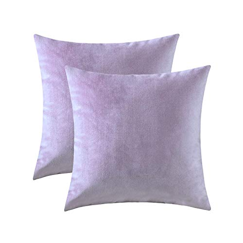 Jeneoo Comfy Soft Velvet Throw Pillow Cases for Sofa Couch, Decorative Solid Square Cushion Covers for Bedroom Car (Lavender, 18 x 18 Inches, 2 Pieces)