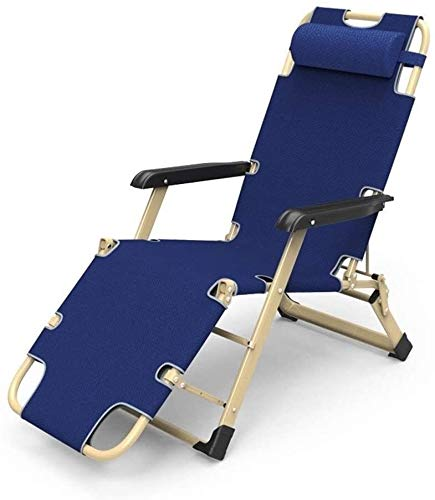 MGE Deck chair Sun Lounger Patio Chairs Reclining, for Heavy People Support 200kg Outdoor Beach Lawn Camping Portable Foldable Garden Blue Deck Chair with Neck Pillow