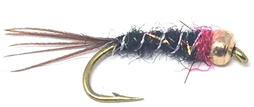 Feeder Creek Bead Head Frenchie Nymph Flies, One Dozen Fly Fishing Flies in a 4 Size Assortment 12,14,16,18 (3 of Each Size), Great for Trout, Bass, Panfish & More