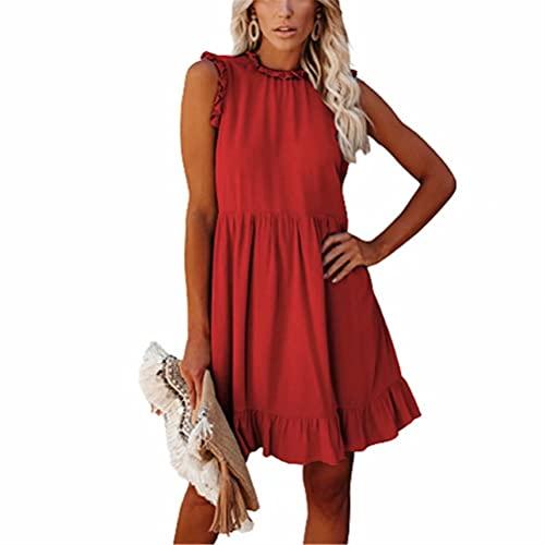 LYAZFC Vestido de Cintura con Volantes de Color sólido y Cuello Redondo para Mujer de Verano