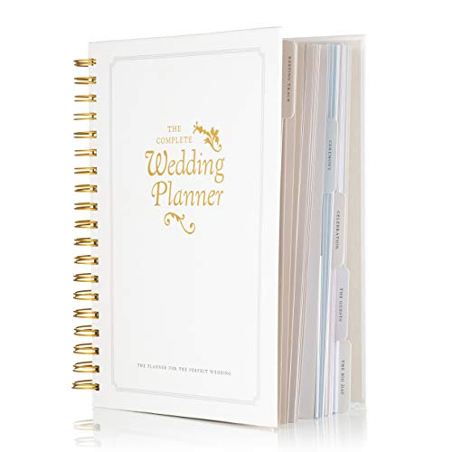 The Complete Wedding Planner Book and Organizer by DayWorks: Gold Undated Hard Cover Bridal Planning Diary. The Perfect engagement gift includes checklists, pockets