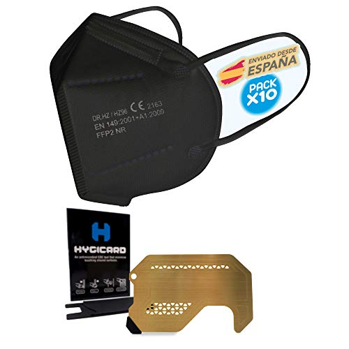 10 Mascarilla FFP2 Negras Ultra Protección, Paquete de 10 FFP2 + tarjeta anticontacto Hygicard envio desde España