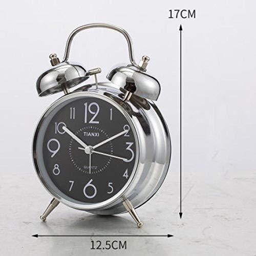 FPRW 4 Inch dubbele bel metalen wekker, grote ringtone mechanische wekker, retro wekker, creatieve lichte eenvoudige klok, zwarte wijzerplaat