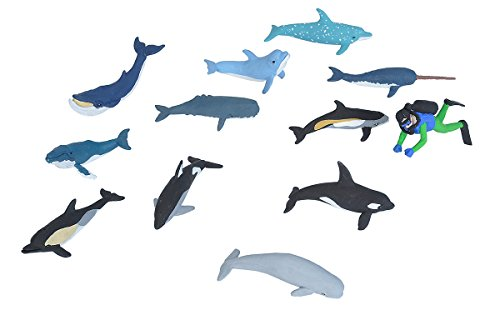 Wild Republic Whales and Dolphins Tube, Bottlenose, Spotted, White-sided Dolphins, Narwhal, Orca, Beluga, Humpback, Gray, Sperm Whales and Diver