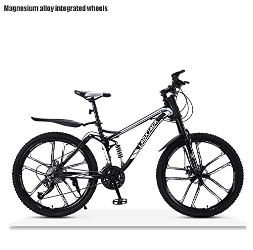 AISHFP Bicicleta de montaña de Descenso Todo Terreno para Hombre, Bicicletas de Nieve para Adultos con Doble Freno de Disco, Bicicleta de Playa, Ruedas de 24 Pulgadas