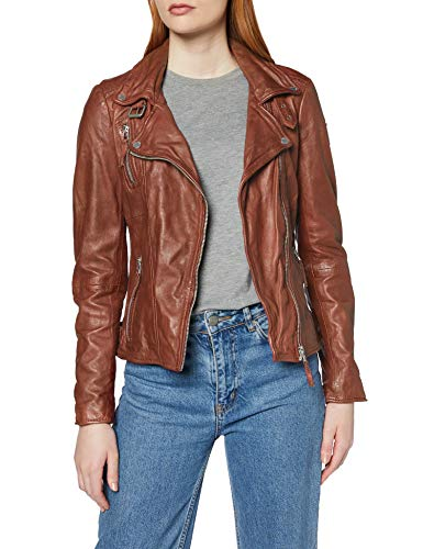 Freaky Nation Damen Biker Princess Jacke, Braun (Dark Cognac 8903), Medium (Herstellergröße: M)