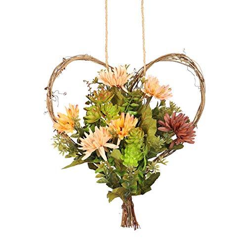 LIJUMN - Ghirlanda di girasole artificiale, 11 pollici, a forma di cuore, corone floreale con zucca, per la decorazione della porta d'ingresso, finestra, camera, balcone, matrimonio, Halloween