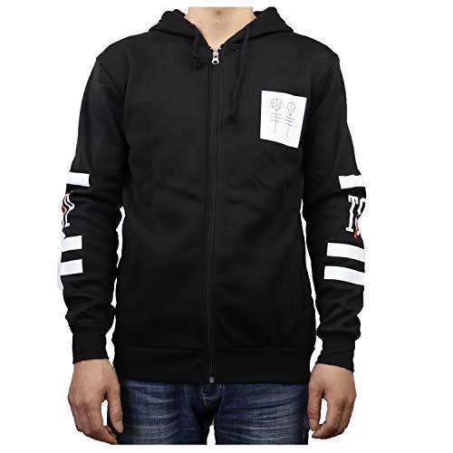 YEOU Unisex Zip Hoodie Letter Printed Cotton Hooded Pullover Sweatshirt Outwear Long Sleeve Coat Jacket (Black,XXXL)