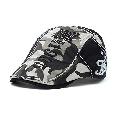 Gorra de Primavera Sombrero de algodón para Hombre Sombrero de Camuflaje con Costura Letras Bordadas Casuales al Aire Libre