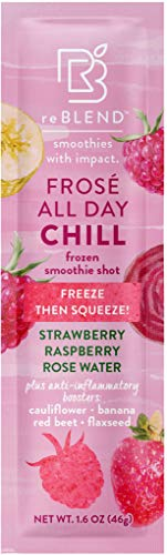 reBLEND Smoothie Pops | Frosé All Day 5 Pack | Frozen Fruit + Veggies + Superfoods | Dairy-Free, Vegan, Gluten-Free, No Sugar Added, Anti-Inflammatory | Eco-Friendly and Zero Waste | 1.6oz each