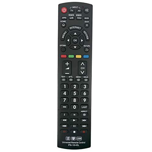 VINABTY PN-15 - Mando a distancia universal para Panasonic TV/VIERA Link/HDTV/3D/LCD/LED, sustituye a N2QAYB000485 N2QAYB000221 N2QAYB000837 N2QAYB000926