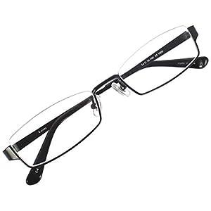 アンダーリム スクエア メガネフレーム メタル メガネ 伊達 眼鏡 UV ブルーライト カット (ブラック ブルーライトカットレンズ)