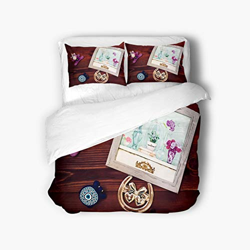 Meofo 3 Piece Duvet Cover Set Twin 68'x90' composit iin Frame Souvenir Form Hearts Small Turtle st Toy Mahogany Watercolor Turtle Breathable Soft Microfiber Fabric Bedding Set with 2 Pillow Covers