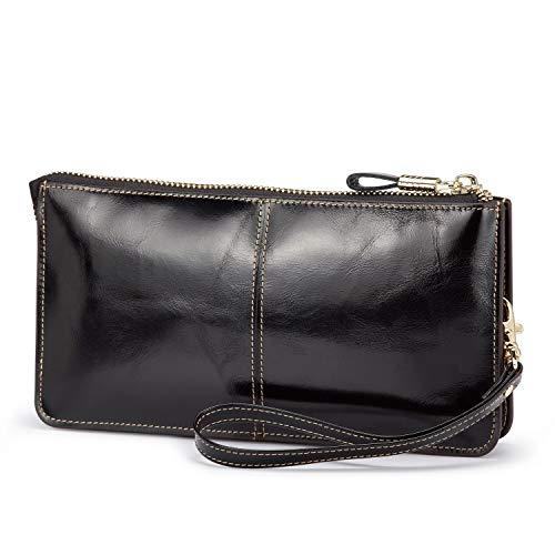 Lecxci Luxury Womens Genuine Leather Clutch Cell Phone Handbags, Zipper Wristlets Wallets Purse for Women (Black RFID Blocking)