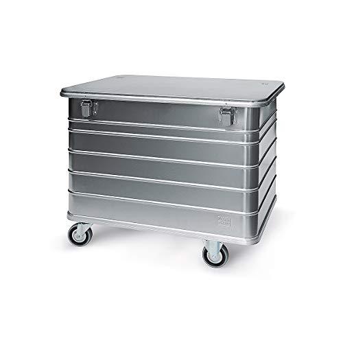 Certeo Sammelcontainer für Dokumente | Rollcontainer Rollwagen Aluminium Kastenwagen Alu-Transportwagen Transportwagen Alu-Wagen mit Deckel