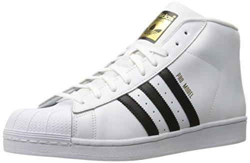 adidas Originals Men's Pro Model Fashion Sneaker, White/Black/White, 11 M US