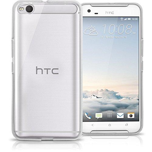 igadgitz Transparent Klar Glänzend Etui Tasche Hülle Gel TPU für HTC ONE X9 Case Cover + Bildschirmschutzfolie