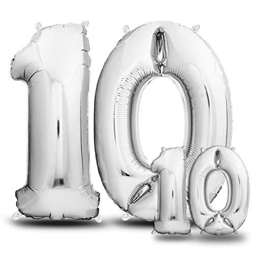 envami Ballon Anniversaire 10 Ans Argent I 101 CM + 40 CM Ballon Chiffre I Deco Kit Anniviersaire Garçon Fille I Happy Birthday Decoration I Ballon Joyeux Anniversaire I Vole Grâce à l'Hèlium