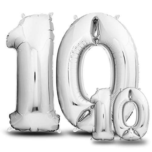 envami Globos de Cumpleãnos 10 Plateado I 101 CM + 40 CM Globos 10 Años I Globos Numero 10 I Decoracion 10 Cumpleaños Niño Niña I Globos Numeros Gigantes para Fiestas I Vuelan con Helio