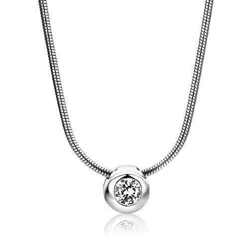 Miore Kette Damen Elegante Solitär Halskette mit Anhänger Rudschliff Zirkonia Stein aus 925 Sterling Silber Halsschmuck 42cm lang