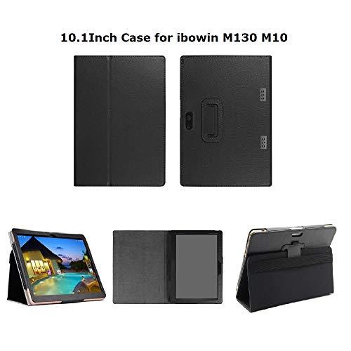 10,1 Zoll Tablet Ledertasche mit Standfuß für das ibowin Modell M130, M10 Pro oder einen Anderen Tablet-PC desselben Modells - Schwarz