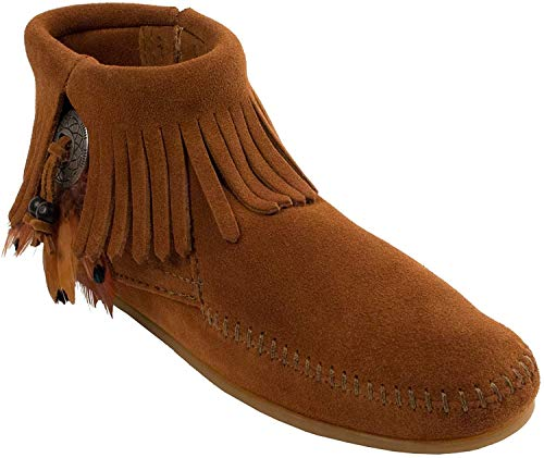 Minnetonka Concho/Feather Side Zip Boot 522 Damen Fashion Halbstiefel & Stiefeletten, Braun (Brown 2), 42 EU