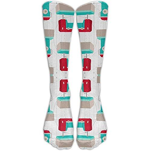 NA Lange retro aqua en rode naaimachine sokken dames winter vintage katoen wol knit lange crew sokken