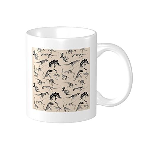 Taza de cerámica impresa del esqueleto del dinosaurio 11oz taza de café taza de té