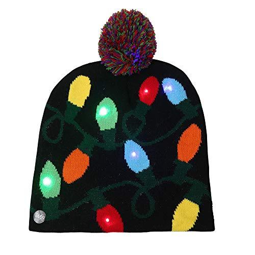Mallallah Kerstmuts, LED, Light Up, voor volwassenen, gebreide muts, knipperend, muts, muts, kerstvakantie, winter, kerstboom, koekjes in gember-design