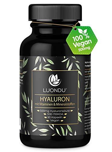 Hyaluronsäure Kapseln hochdosiert 500mg Anti-Aging* Haut & Gelenke* 90 Stück (3 Monate) Hyaluron 500-700 kDa Vitamin B2, Zink, Selen & Vitamin C - Laborgeprüft, Vegan, hergestellt in DE