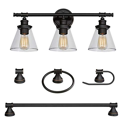 Parker 5-Piece All-in-One Bathroom Set, Oil Rubbed Bronze, 3-Light Vanity Light with Clear Glass Shades, Towel Bar, Towel Ring, Robe Hook, Toilet Paper Holder,50192