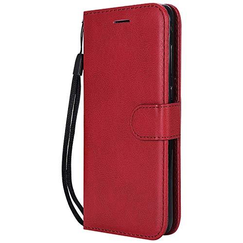 DENDICO Cover Huawei P8 Lite 2017 / Nova Lite, Premium Portafoglio PU Custodia in Pelle, Flip Libro TPU Bumper Caso per Huawei P8 Lite 2017 / Nova Lite - Rosso