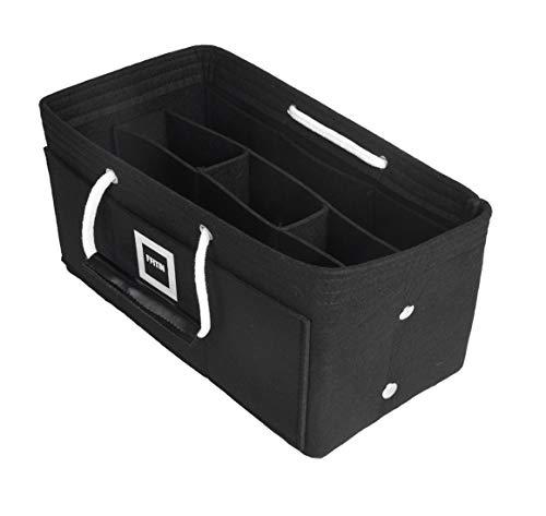 FFITIN Taschenorganizer Filz – Handtaschenorganizer mit Tragegriffen | Bag in Bag | XL Handtaschenordner (Charcoal Black, XL - X - Large (33 x 16 x 16 cm))