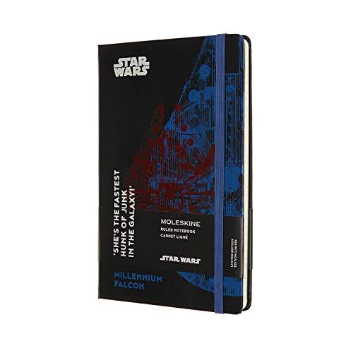 Moleskine - Star Wars Notebook Limited Edition - Liniertes Notizbuch - Motiv Millennium Falke - Hardcover mit Thematischen Abbildungen und Details - Größe 13 x 21 cm, Farbe Schwarz, 240 Seiten