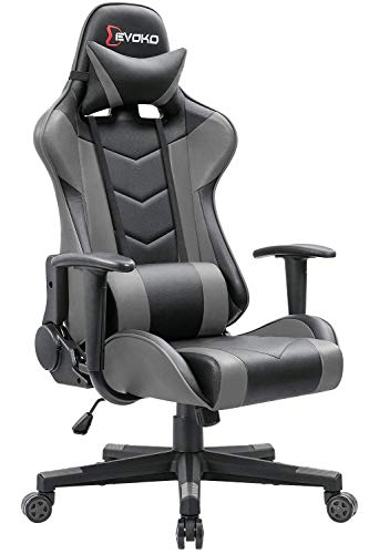 Devoko Ergonomic Gaming Chair Racing Style Adjustable Height High Back PC Computer Chair with Headrest and Lumbar Support Executive Office Chair (Grey)