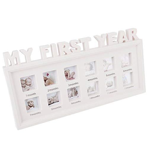Fnsky DIY Kombination Bilderrahmen, 0–12 Monate Baby Mein erstes Jahr Bilder Display Kunststoff Fotorahmen Wohnzimmer Bilderrahmen für Kinderfotos weiß