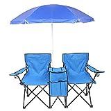 NHRFUJ Picnic Double Folding Chair with Umbrella, 2-Person Folding Camp Beach Chair Fold Up Beach Camping Chair for Beach Patio Pool Park