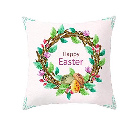 Odoukey 1 Cubierta de la Funda de Almohada PC Pascua Antiguo Muelle de la decoración de Flores Tiro Funda de Almohada sofá decoración de Pascua