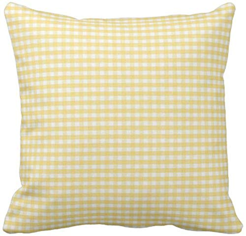 BONRI Throw Pillow Cover Accent Yellow Gingham Spring White Living Room Funda de Almohada Decorativa Decoración para el hogar Funda de Almohada Cuadrada , (18'x18 / 45x45cm
