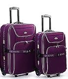 Juego de maletas con ruedas (2 unidades, tamaño XXL, 66 + 56 cm, extensible), color rojo